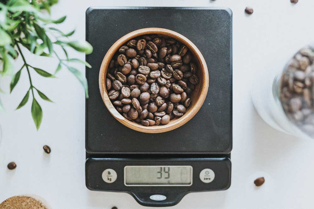 Coffee beans on a scale
