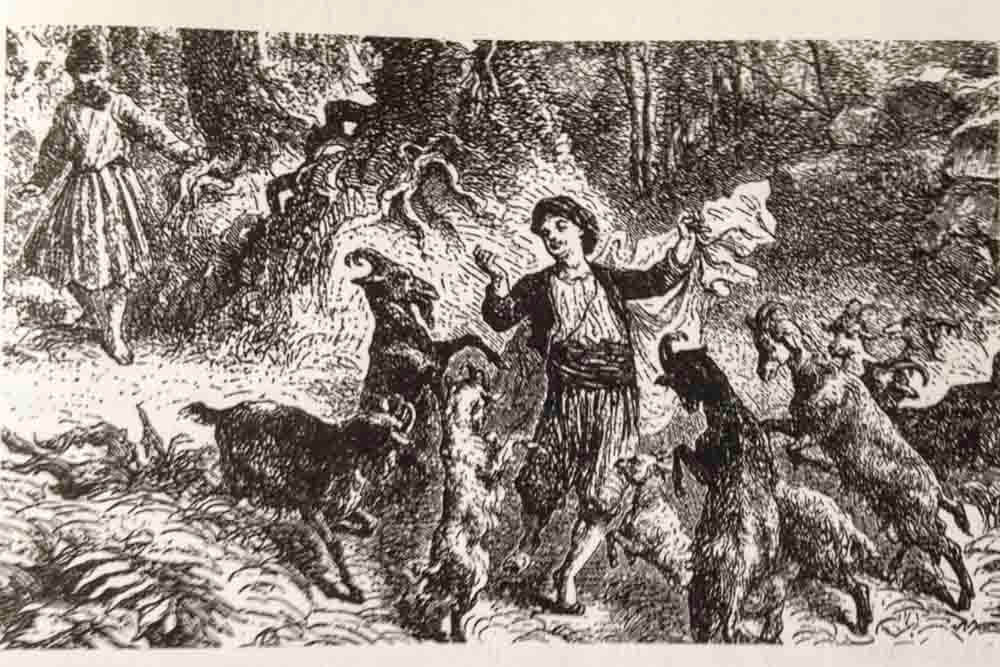 A scan of an etching showing Kaldi surrounded by dancing goats while a man approaches from the left