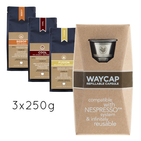WayCap Basic Trio 250 - 1 capsule + 3 coffee 250g