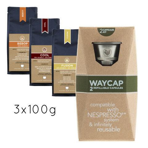 WayCap Complete Trio 100 - 2 capsules + 3 coffee 100g