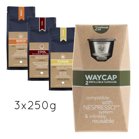 WayCap Complete Trio 250 - 2 capsules + 3 coffee 250g